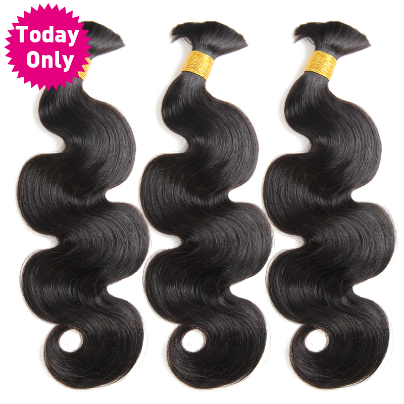 TODAY ONLY 3 Bundles Peruvian Hair Bundles Human Braiding Hair Bulk No Weft Body Wave Bundles Remy Braiding Hair Extensions