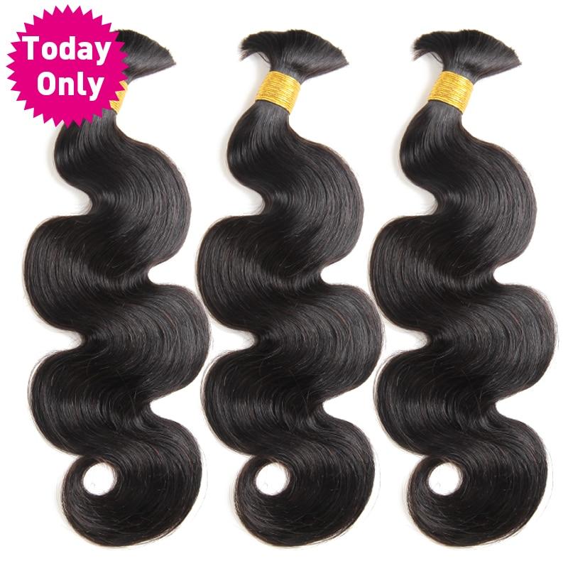 TODAY ONLY 3 Bundles Peruvian Hair Bundles Human Braiding Hair Bulk No Weft Body Wave Bundles Remy Braiding Hair Extensions