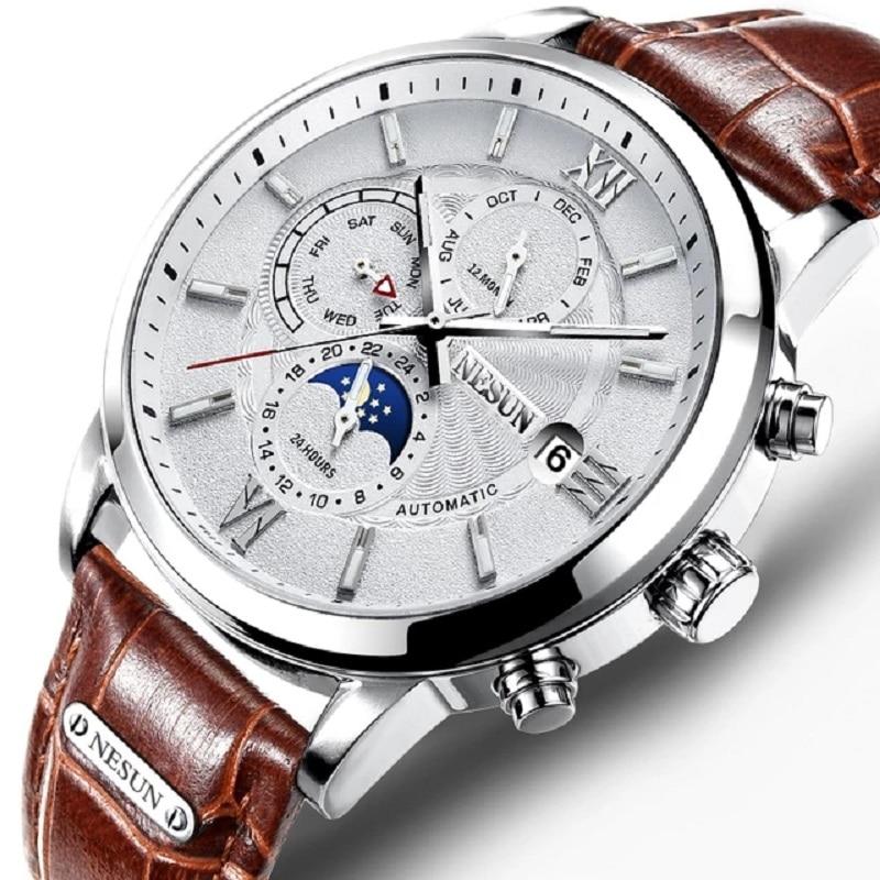 Швейцария Nesun часы Для мужчин Элитный бренд автоматические механические Для мужчин часы сапфир relogio masculino световой Водонепроницаемый