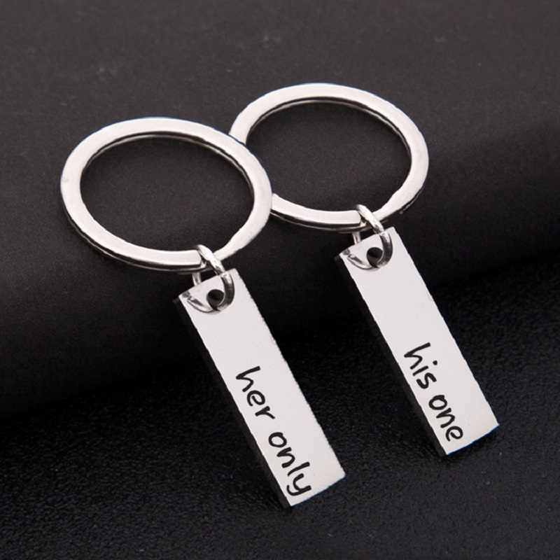 His One Her Only Letter Key Chains Stainless Steel Car Bag Key Ring Fashion Couple Boyfriend Girlfriend Keychain Gifts Jewelry
