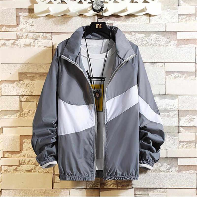 ジャケット男性 New 2019 春の秋のファッションパッチワークカラーブロックコートカジュアル恋人ジャケットヒップホップウインドブレーカージッパーパーカー男性