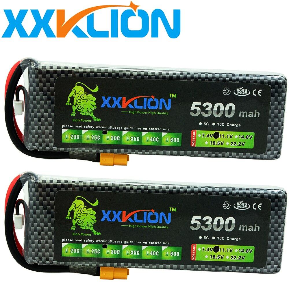 2 pièces Batterie Lipo 3 S 11.1 v 5300 mah 25C 30C 35C 40C 60C T xt60 carlin RC Hélicoptère RC Voiture RC Bateau quadrirotor Télécommande jouets