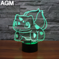 NEW Pokemon Go Bulbasaur 7 Color 3D Lamp Mega Night Lights 3D Touch USB Visual Table lamp Pikachu 3D NightLights For Kids Gifts
