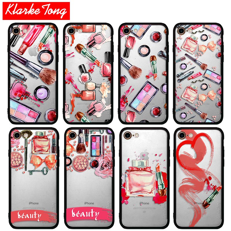 Nailpolish Make Ups Cosmetic Phone Case For iPhone 7 6 6s Plus 5 5s SE Hybrid Silicone Matte Protective Hard PC Universal Cover