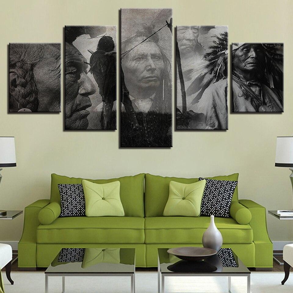 Drucke Malerei Modulare Leinwand Kunst Poster 5 Panel Native Americans Wand Rahmen Bilder Für Wohnzimmer Dekoration