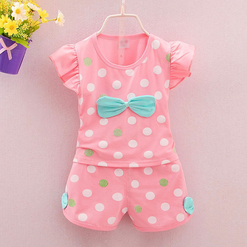 2017 summer new girl baby clothes outfit tracksuit for infant girls babys clothing brand casual sports polka dots suit 2pcs set