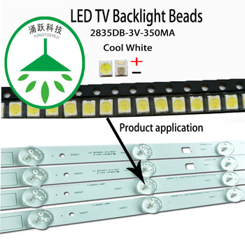 100Pcs/Lot new smd led 2835 3v 350ma 1w lamp beads cool white for repair led lcd tv backlight bar and strip hot
