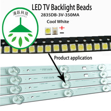 YONGYUEKEJI 100Pcs/Lot new smd led 2835 3v 350ma 1w lamp beads cool white for repair lcd tv backlight bar and strip hot