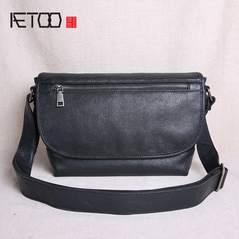 AETOO Leather mens bags, one-shoulder trend sloping casual student postman leather bags