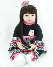 1pcs New 22 Inches Silicone Doll Reborn Baby Kawaii Kids Toys Girls boneca Creative Christmas Gift Dolls Brinquedos Juguetes