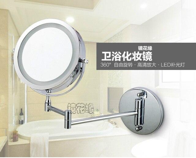 Inch dual arm breiden badkamer spiegel met batterij led licht