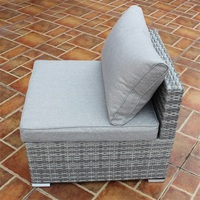 Patio Combination Cushioned PE Wicker Sofa Furniture Set Outdoor Patio Furniture One Seat Garden Sofas HW53781C