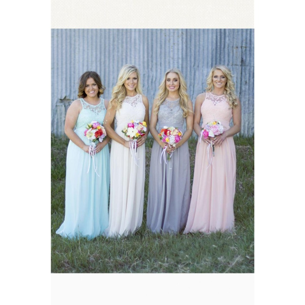 2016 New Country Style Cheap Bridesmaid Dresses Grey Blue