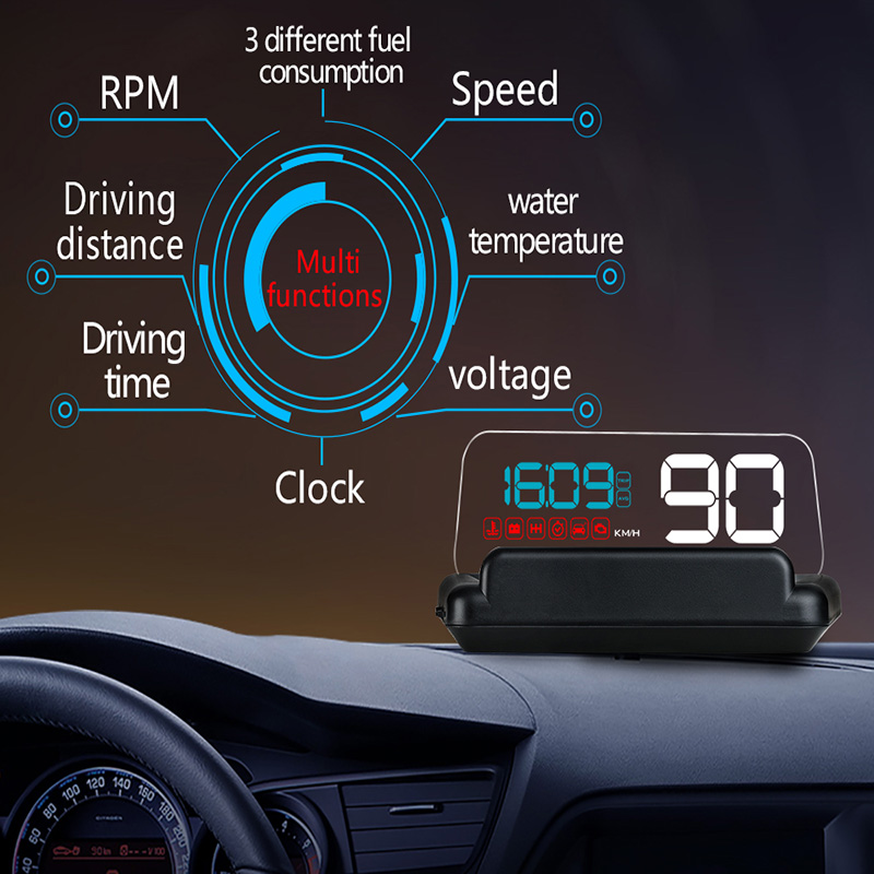 C500 OBD2 Car Speed Projector Hud Head Up Display Digital Speedometer Clock RPM For Universal OBD II Car Electronics Accessories speed warning system c500 car hud obd2 mirror hud head up display rpm speedometer projector