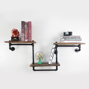 Industrial Retro Wall Mount Iron Pipe Shelf DIY Storage Wooden Pipe Shelf