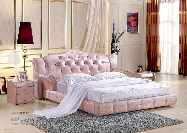 Haute qualité prix usine royale grande king size en cuir véritable lit douillet meubles de chambre à coucher lit douillet 0235