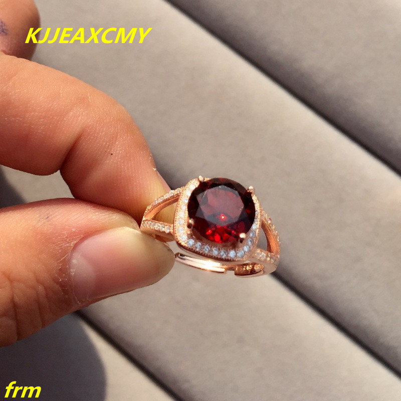 KJJEAXCMY Fine jewelry Natural round garnet ring in sterling silver with wholesale opening lady adjustable to support detection kjjeaxcmy fine jewelry 925 sterling silver inlaid natural amethyst ring wholesale opening ladies adjustable support testing