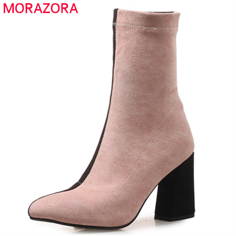 MORAZORA 2019 new arrival ankle boots for women flock autumn winter boots mixed colors high heels boots fashion shoes woman MORAZORA 2019 new arrival ankle boots for women flock autumn winter boots mixed colors high heels boots fashion shoes woman