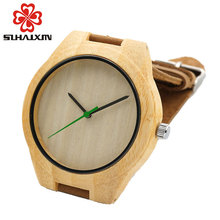 Bamboo wood watch men causal watches genuine leather bamboo wooden quartz wrist watches for man best gifts male clock with box