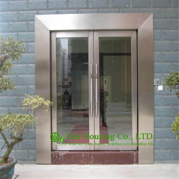 Modern Pivot Front Entry Door With Frosted Glass Design Solid Wood