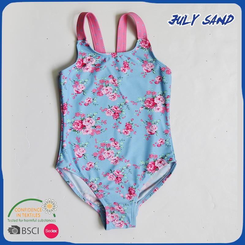 JULY SAND new design Baby Girl's swimwear one piece beach swimsuit with floral blue print ulgran u 405 sand