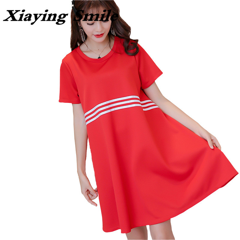 Xiaying Smile Women Solid Dress Spring And Summer Clothes Female Fashion All-Match Large Size Short Sleeve O-Neck Girls Dress