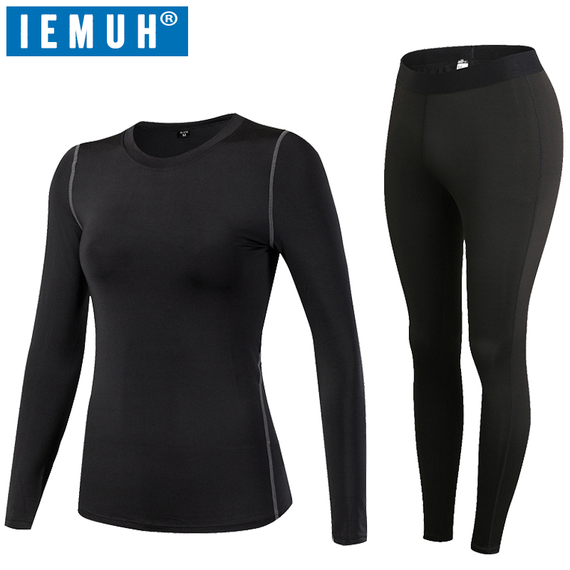 IEMUH Brand Women Thermal Underwear Winter Fitness Quick Dry Elastic Compression Warm Long Johns Thermo Underwear Set HI-Q