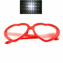 2pcs Red Heart Shape Diffraction Party Rave Glasses Hearts Shaped - Festival Rainbow Rave Prism Fireworks Gratings Eyewear