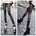 Горячая продажа 2015 женщины моды искусственная кожа леггинсы женский сексуальный лоскутная Леггинсы высокие эластичные брюки черные брюки для похудения