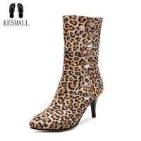 KESMALL ハイヒールヒョウの靴の女性オフィスレディポインテッドトゥカジュアルシューズ女性プラスサイズの冬暖かいブーツ WS487