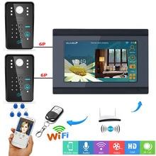 """7 SmartYIBA """"APP Remoto Campainha de Vídeo Sem Fio Wi-fi Senha RFID Vídeo Porteiro Interfone Do Telefone Da Porta de Áudio 2 Campainha Câmera"""