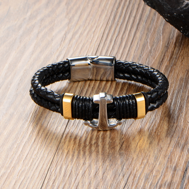 Nautical Bracelets Genuine Leather Wrap Stainless Steel Anchor Men Bracelet Magnetic Clasp In Charm From Jewelry Accessories On Aliexpress