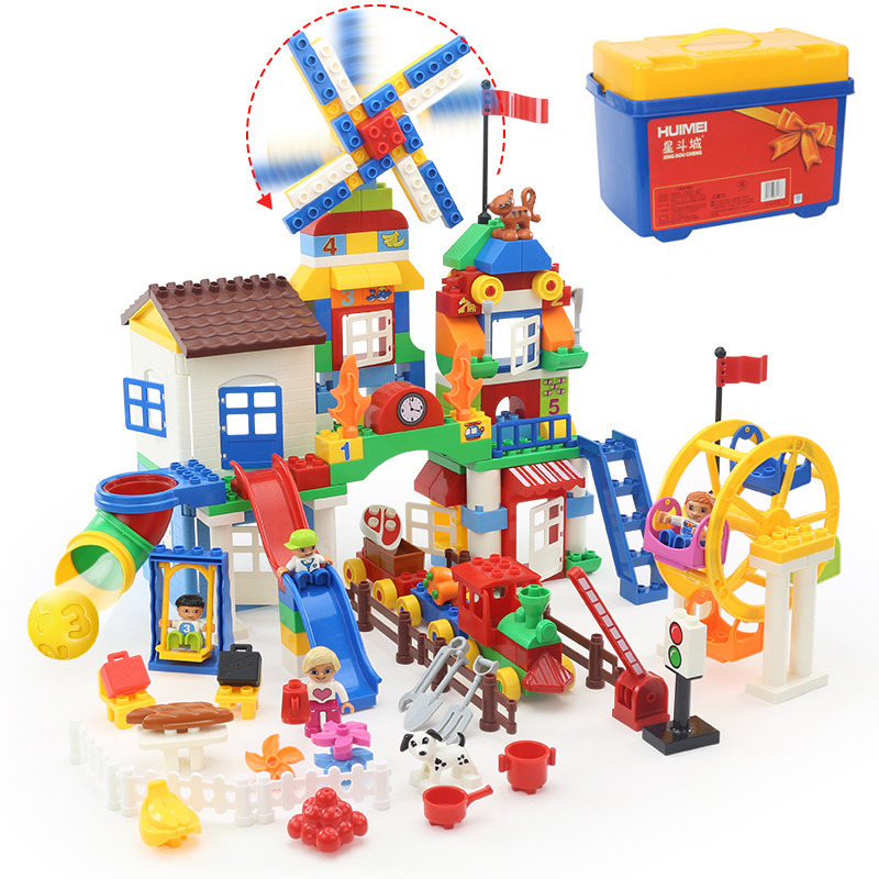 211pcs Big Building Blocks 2 style Ferris wheel model Educational Toys Baby Toy kids Child Gift Compatible with Legoed Duploe yks colorful balls perpetual motion revolving ferris wheel desk decor kids toy chriamas gift new sale