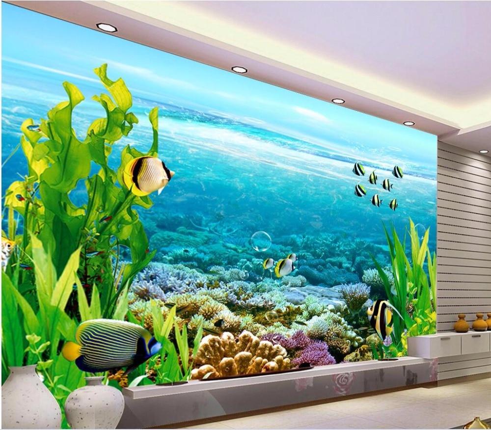 US $15 34 OFF Kustom Foto 3d Wallpaper Indah Laut Rumput Ikan Gambar Dekorasi Kamar Lukisan 3d Dinding Mural Wallpaper Untuk Dinding 3 D Mural