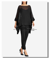 Black Chiffon Overlay Top pants suit Mother of the bride dresses Evening wear