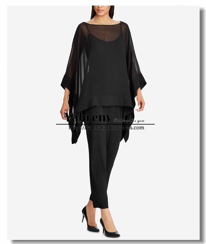 Mousseline de soie noire superposition Top pantalon costume mère de la mariée robes tenue de soirée