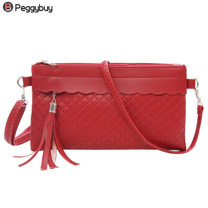 Women Tassel PU Leather Solid Weave Clutch Pure Color Ladies Messenger Envelope Bag Casual Purse Simple Shoulder Handbags simple fashion women handbag solid color clutch bag leather envelope bags ladies over shoulder package 88 wml99
