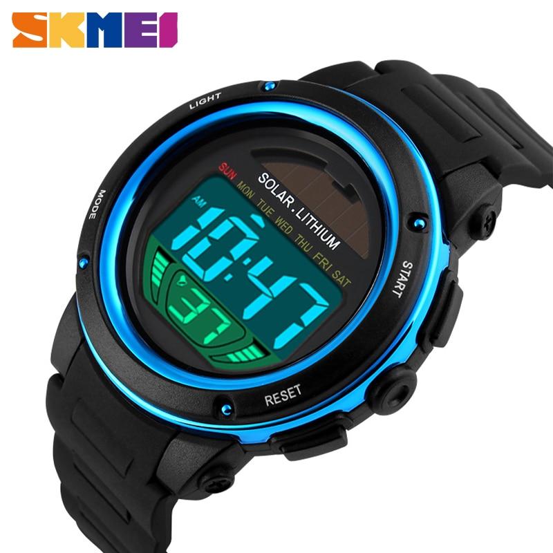 SKMEI Solar Power Watches Outdoor Sport Digital Wirstwatches Men 50M Waterproof Chrono Big Dial Military Watch Relogio Masculino