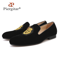 Piergitar 2019 new India handmade luxurious embroidery men velvet shoes Men dress shoes Banquet and Prom male Plus size loafers