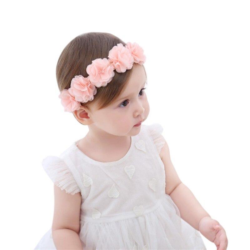 New Cute Sweet Headdress Children's Hair Accessories Newborn Children New Baby Girl Flower Headband Pink Hair Band