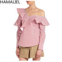 HAMALIEL Runway Summer Women Shirt Tops 2017 Self Portrait One Shoulder Ruffles Striped Asymmetrical Collar Ladies