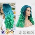 Сине-зеленые бирюзовый парик синтетические фронта парик жаропрочных круглое лицо прически синий зеленый ломбер парик