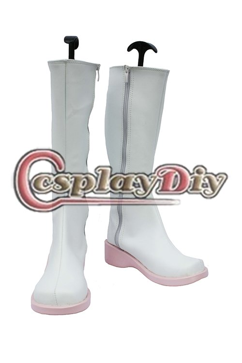 Vocaloid Hatsune Miku Cosplay Boots Cosplay Prop Casual White Shoes Custom Made shipping fashion vocaloid hatsune miku green cosplay 80cm long wavy wig 2clip on ponytail