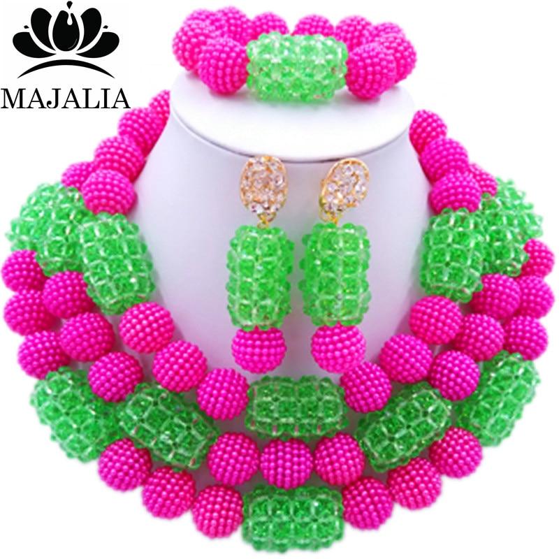 все цены на Majalia Fashion Charming Nigerian Wedding African Jewelry Set Hot pink and Green Crystal Necklace Bride Jewelry Sets 3SZ059 онлайн