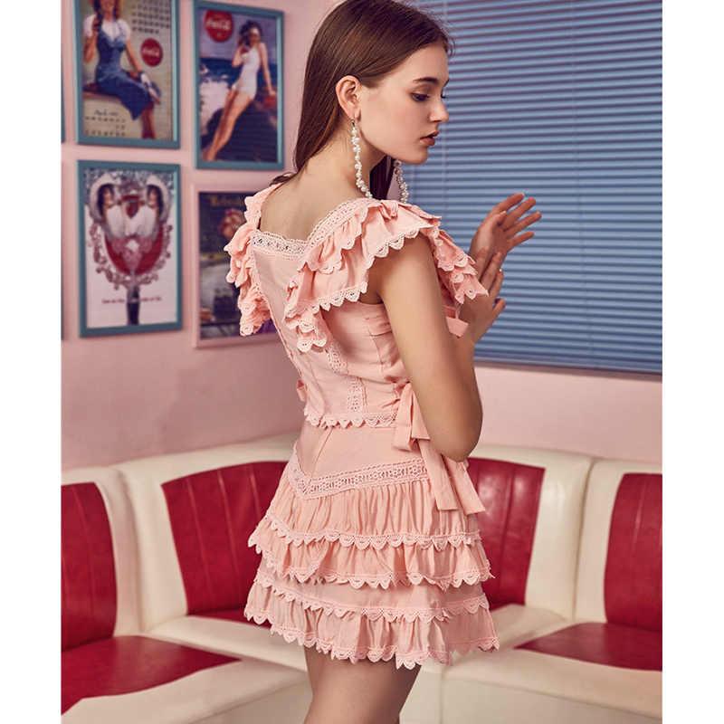 Цветные высококачественные женские комплекты из двух предметов 2019 летние розовые/белые сексуальные вышитые открытые топы и мини-юбка-торт