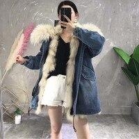 Ptslan Роскошные Для женщин бренд большой истинная природа енота меховой воротник с капюшоном меховое пальто длинные зимние лисы лайнер Армей