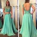 2016 Barato Appliqued Mint Longo Dois 2 Peças Vestido do Baile de finalistas Vestido de Noite Formal Vestido de Festa de Formatura Chiffon Vestido Plus Size