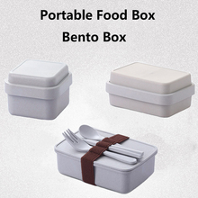 GZZT Portable Lunch Box Bamboo Fiber Blue Cartoon Bento Eco-friendly Food Storage Container for Kids Student