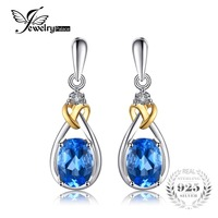 JewelryPalace Love Knot 1 9ct Natural Blue Topaz 925 Sterling Silver 18K Gold Dangle Earrings Fine