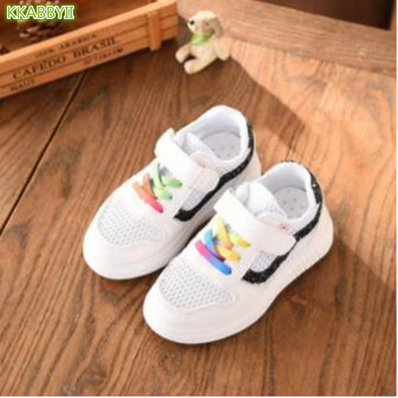 Baby Glittler Shoe Girls White Sneaker Fashion Boys Sports Shoes Kids Children Causal Trainer Sequin Flat Sneakers